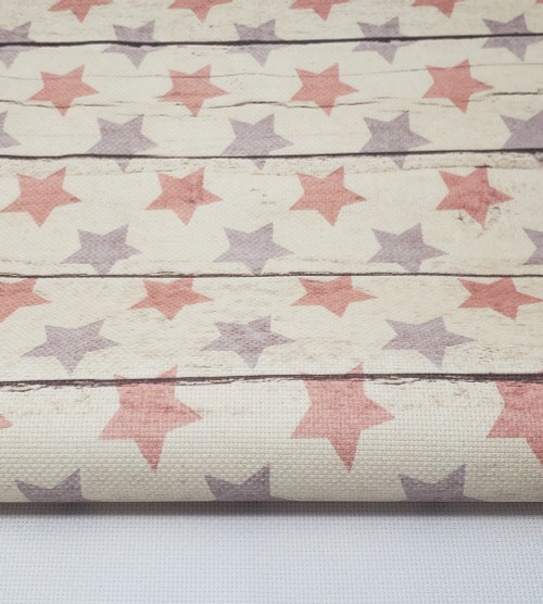 Blue and Red Stars - Patterned Cross Stitch Fabric