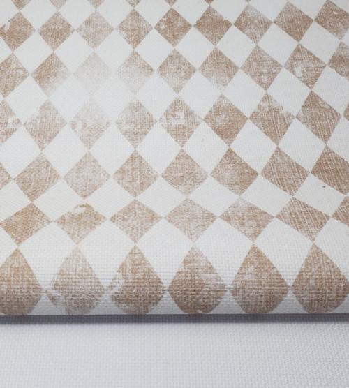 Vintage Brown Harlequin Diamonds Cross Stitch Fabric