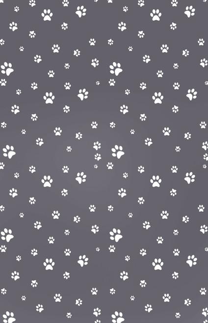 White Paw Prints on Gray