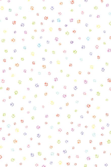 Colorful Paw Prints Cross Stitch Fabric
