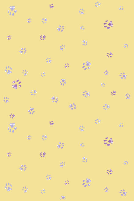 Purple Paw Prints on Yellow