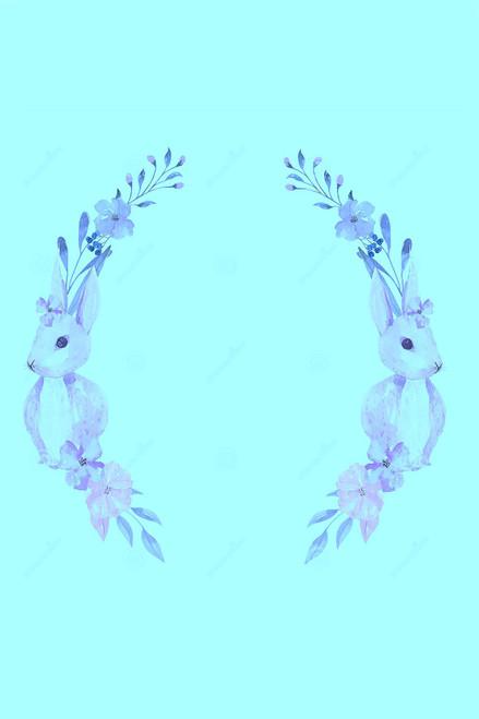 Blue Bunny Frame Cross Stitch Fabric