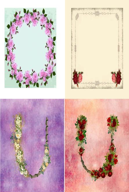 Floral Arch Frame Medley Cross Stitch Fabric