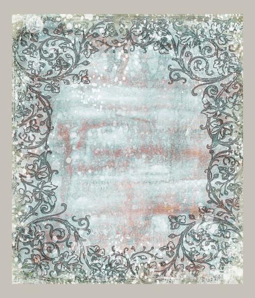 Grey Paint Splatter Frame Cross Stitch Fabric