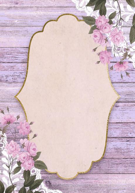 Lavender Floral Wood Frame Cross Stitch Fabric