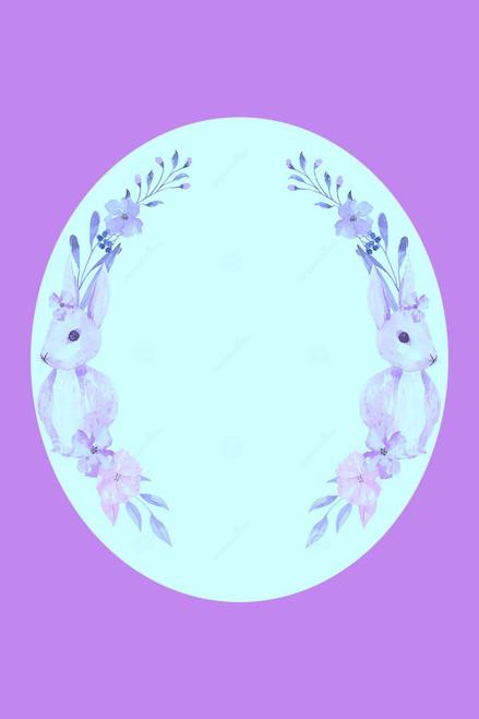 Lilac Bunny Frame Cross Stitch Fabric