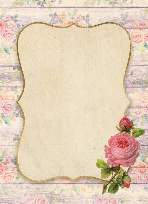 Pink Rose Wood Frame Cross Stitch Fabric