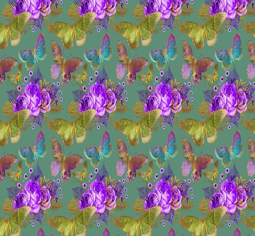 Butterflies & Purple Roses Cross Stitch Fabric