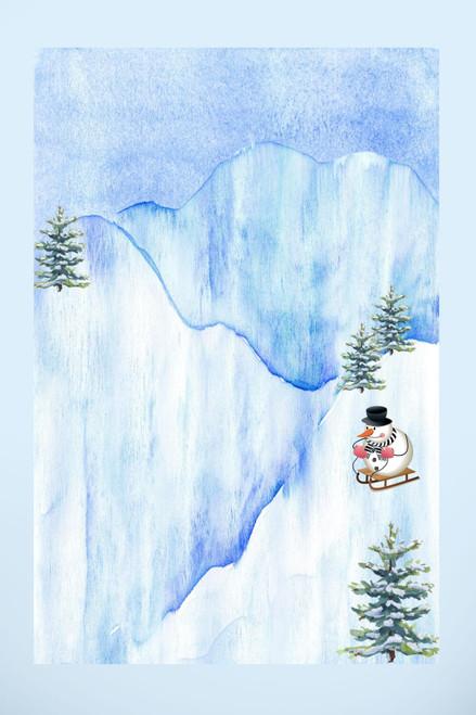Snowman's Ride Cross Stitch Fabric