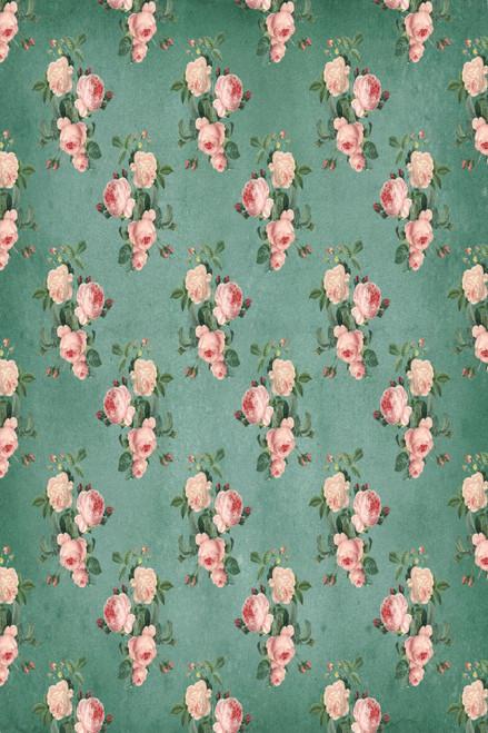 Shabby Chic Roses Green Cross Stitch Fabric