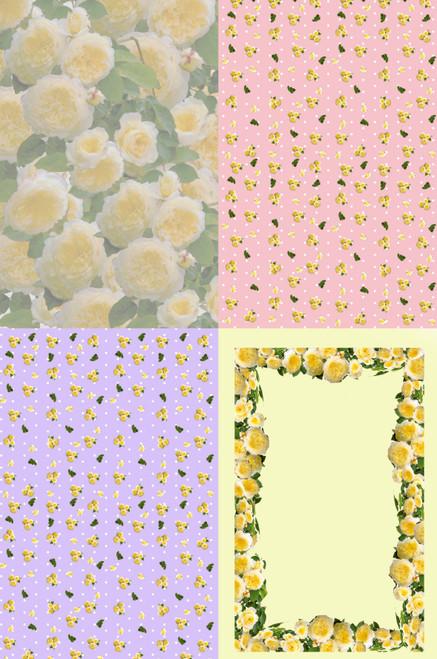 Yellow Roses Medley Cross Stitch Fabric