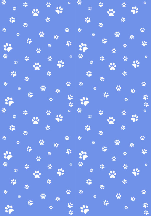 White Paw Prints on Blue - Small Cross Stitch Fabric