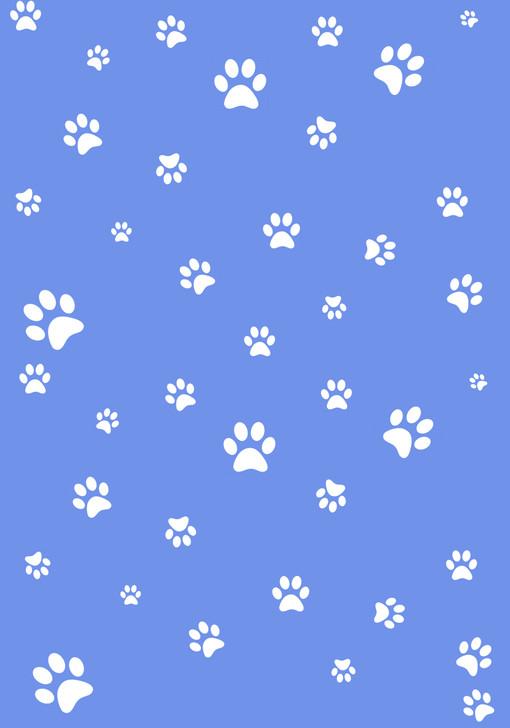 White Paw Prints on Blue Cross Stitch Fabric