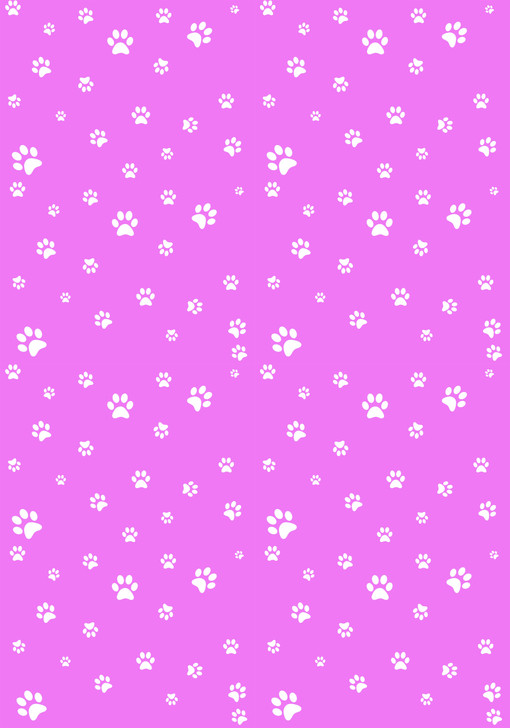 White Paw Prints on Pink - Small