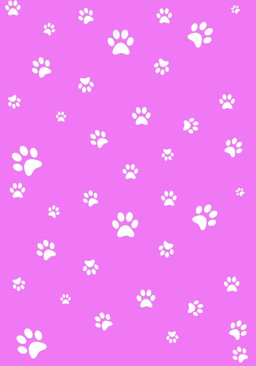 White Paw Prints on Pink Cross Stitch Fabric