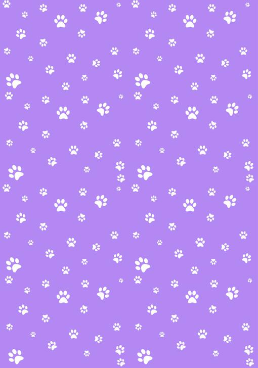 White Paw Prints on Purple - Small Cross Stitch Fabric