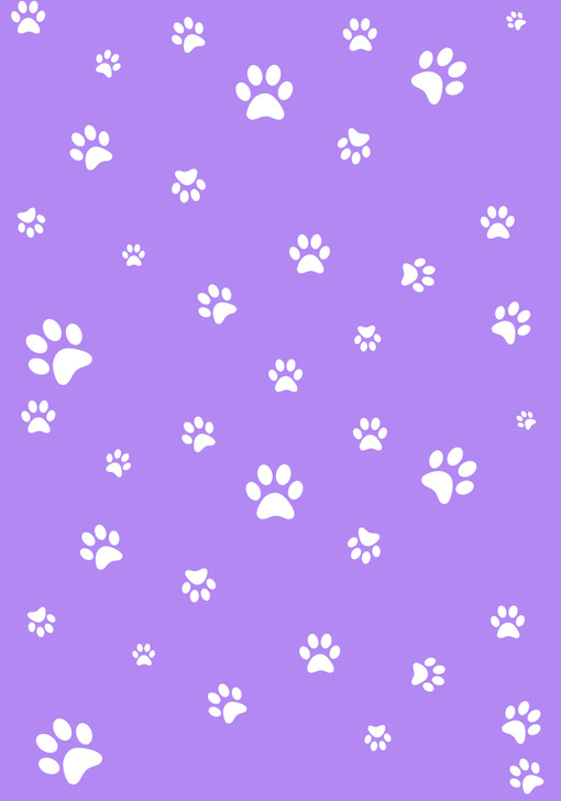 White Paw Prints on Purple