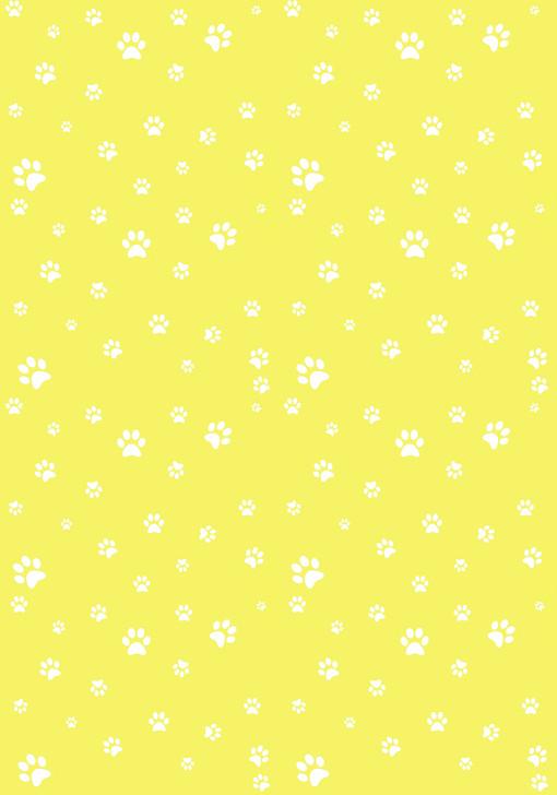 White Paw Prints on Yellow - Small