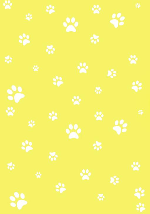 White Paw Prints on Yellow