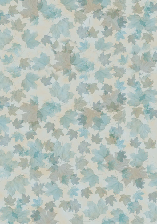 Blue & Tan Autumn Leaves Cross Stitch Fabric