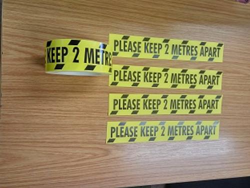 Yellow & Black 'Keep 2 Meters Apart' Tape