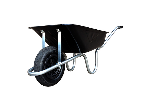 BLACK CONTRACTORS WHEELBARROW WITH PUNCTURE PROOF TYRE