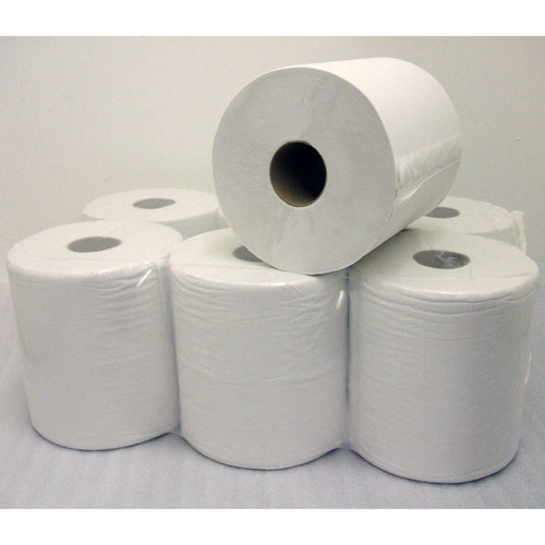 WHITE CENTRE FEED PAPER TOWEL ROLLS (PACK 6)