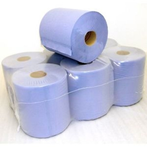 BLUE CENTRE FEED PAPER TOWEL ROLLS (PACK 6)