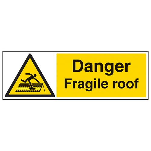 600 x 200 DANGER FRAGILE ROOF SIGN