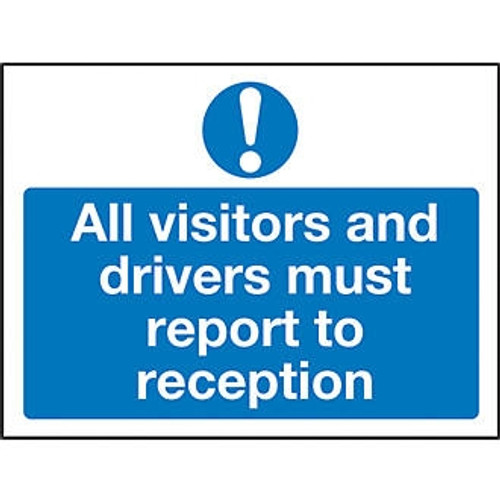 600 x 200 ALL VISITORS MUST REPORT TO SITE OFFICE SIGN
