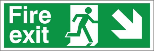 400 x 150 FIRE EXIT DOWN SIGN