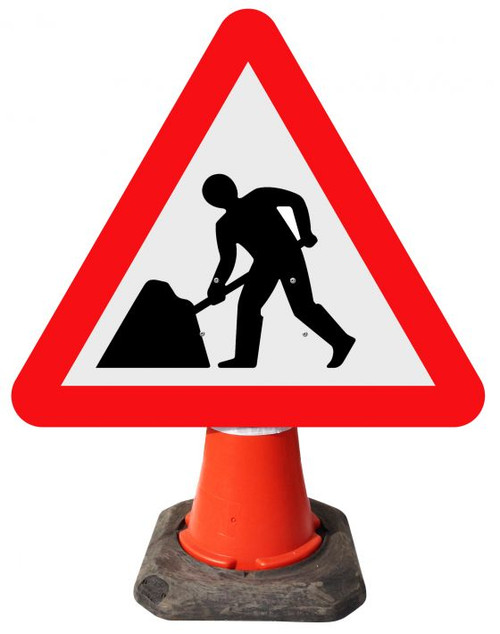 600MM ROAD WORKS AHEAD CONE SIGN