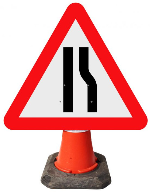 600MM ROAD NARROWS OFFSIDE CONE SIGN