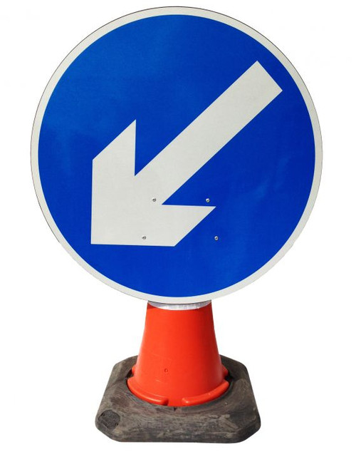 600MM BLUE DIRECTIONAL ARROW LEFT CONE SIGN