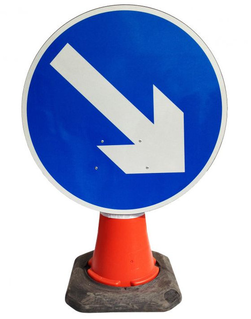600MM BLUE DIRECTIONAL ARROW RIGHT CONE SIGN