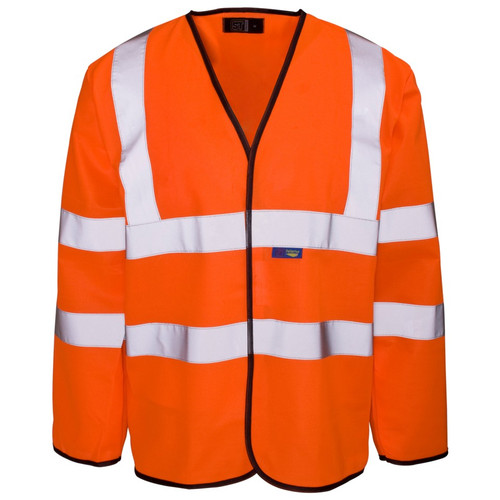 Orange High Vis Long Sleeve Waistcoat