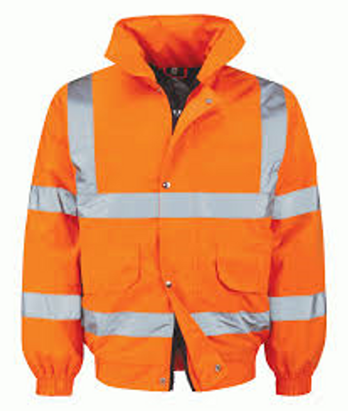 Orange High Vis Padded Bomber Jacket