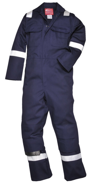 Navy Flame Retardant Boiler Suit With Reflective Bands
