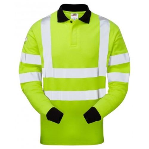 High Vis Yellow Long Sleeve Flame Retardant Polo Shirt