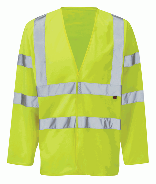 High Vis Yellow Flame Retardant Long Sleeve Waistcoat