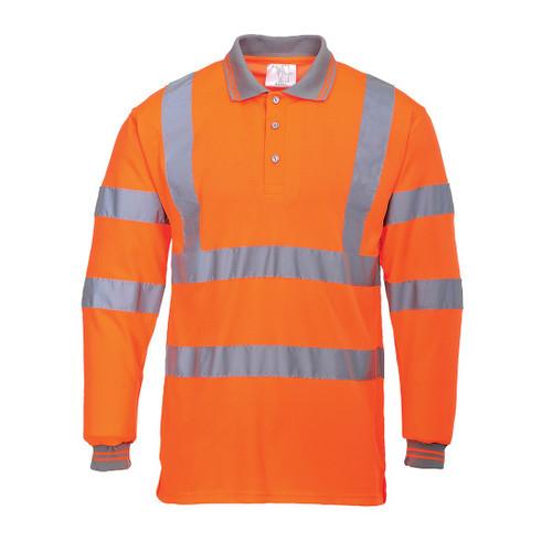 High Vis Orange Long Sleeve Flame Retardant Polo Shirt