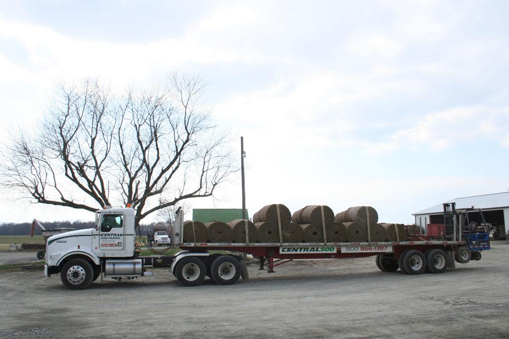 big sod roll on truck