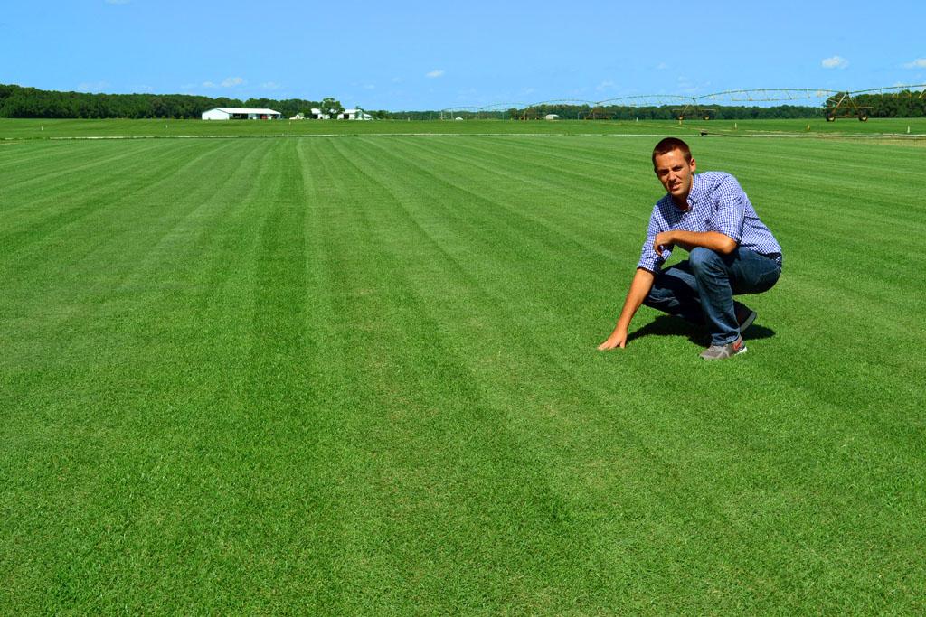 Man on Zoysia grass