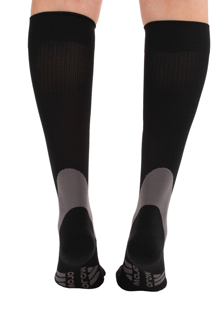 A601BL, Firm Support (20-30mmHg) Black Knee High Compression Socks, Back View