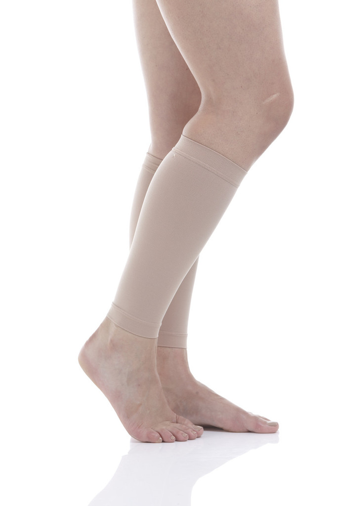 A711BE, Firm Support (20-30mmHg) Beige Knee High Compression Socks, Side View