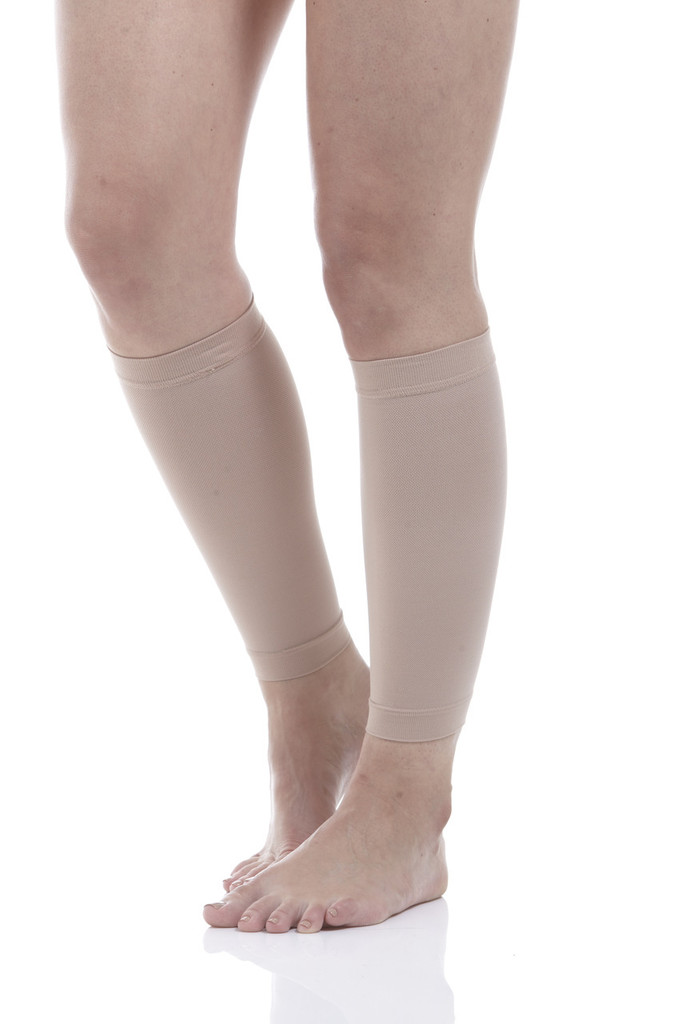 A711BE, Firm Support (20-30mmHg) Beige Knee High Compression Socks, Rear View
