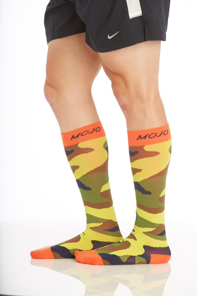 CAMOSOCKC, Firm Support (20-30mmHg) Camo Knee High Compression Socks, Rear View