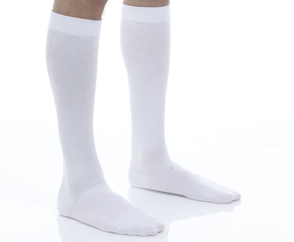 A1010WH, Firm Support (20-30mmHg) White Knee High Compression Socks, Front View