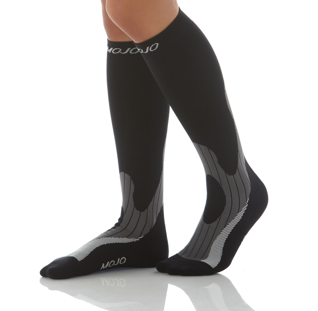 A608BG, Firm Support (20-30mmHg) Black Knee High Compression Socks, Front View