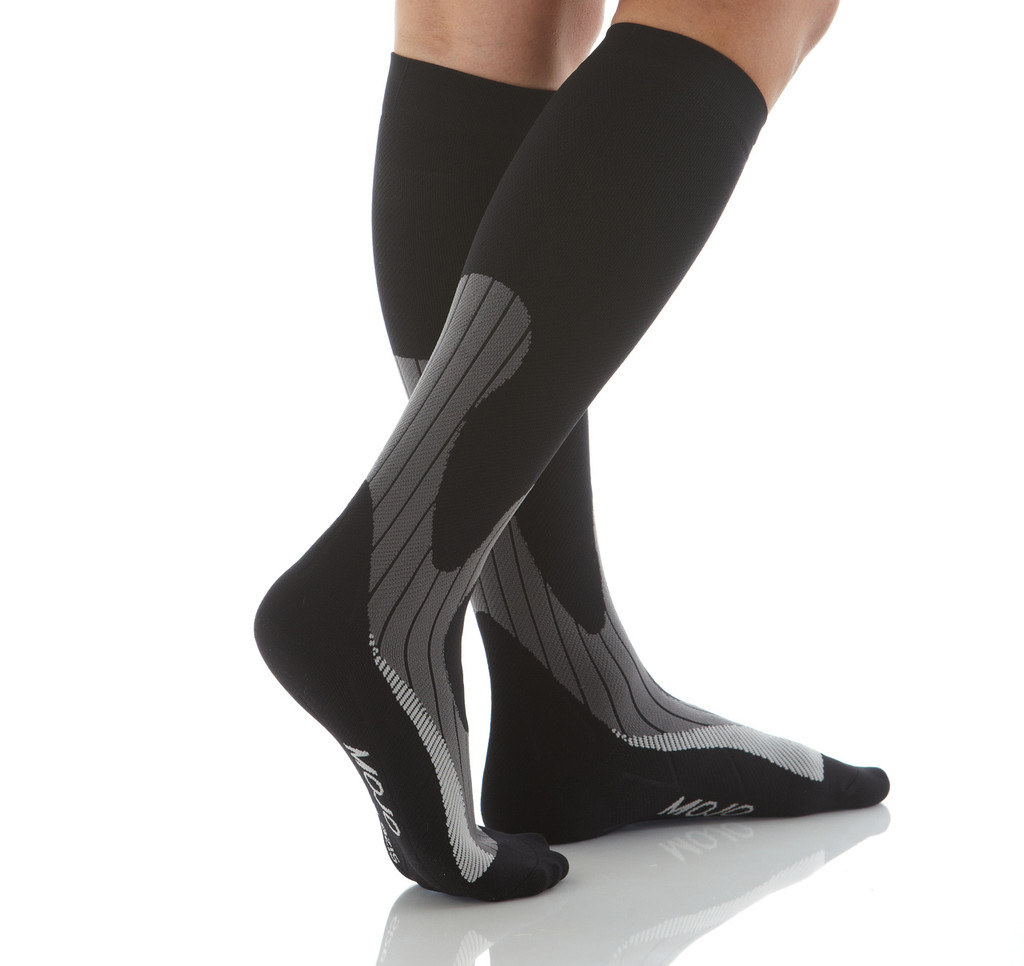 A608BG, Firm Support (20-30mmHg) Black Knee High Compression Socks, Rear View